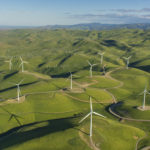 Aerial photo of the Golden Hills Wind Energy Center wind turbines in Alameda County, Cal. on Mar. 29, 2016
