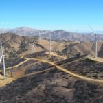 Wind turbines in the California hills Altimont Pass