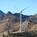 Wind turbine being erected in the California hills Altimont Pass