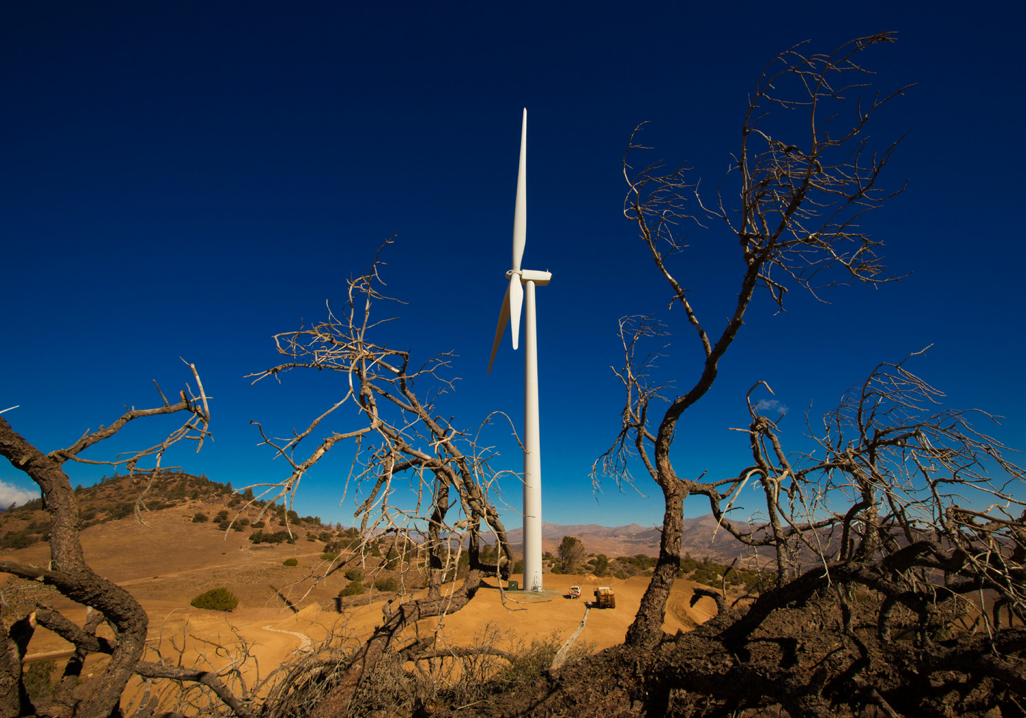 Wind turbines in the California hills