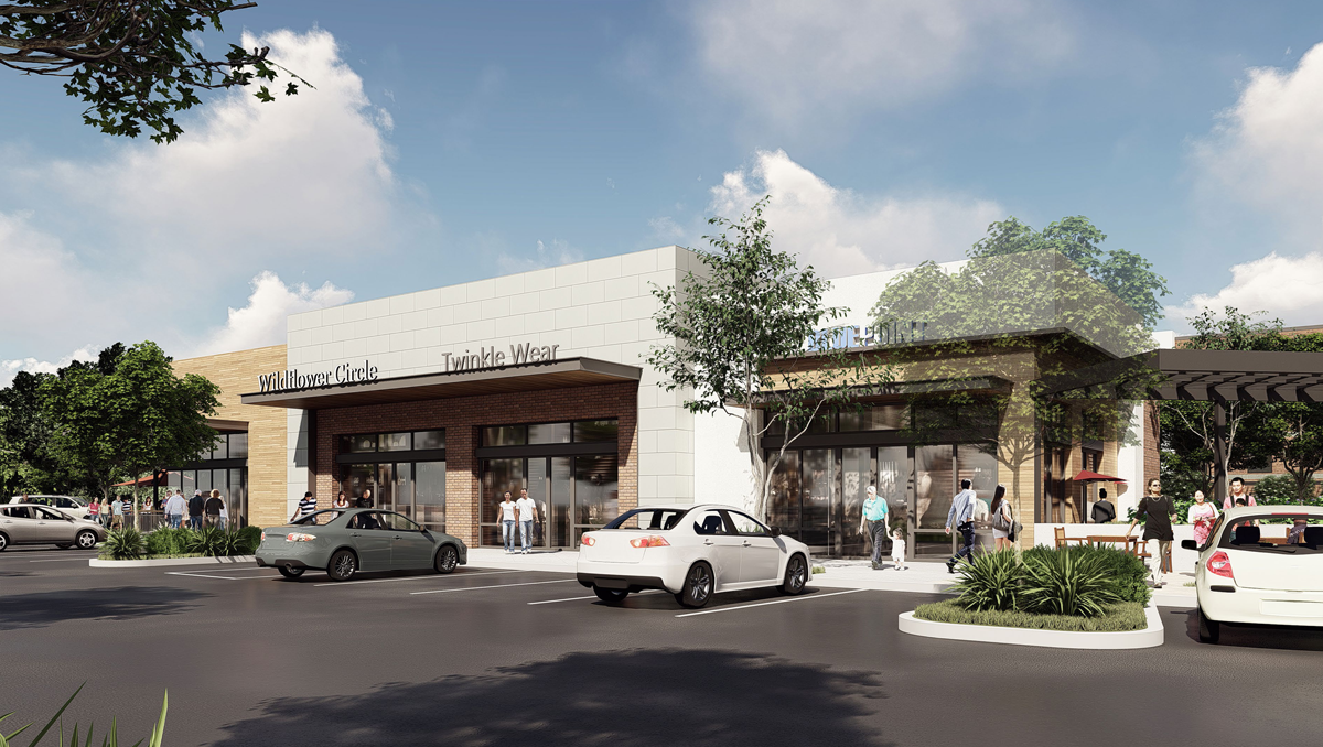 Sycamore Crossing Rendering View of Proposed Shops From Parking Lot