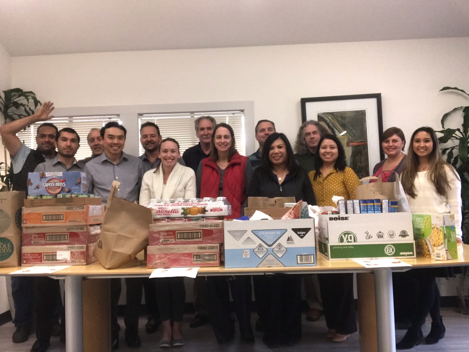 dk Engineering staff with food donations