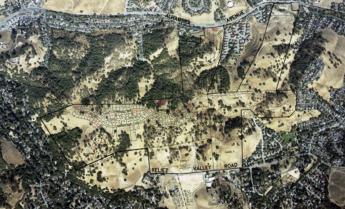 Aerial view of land development
