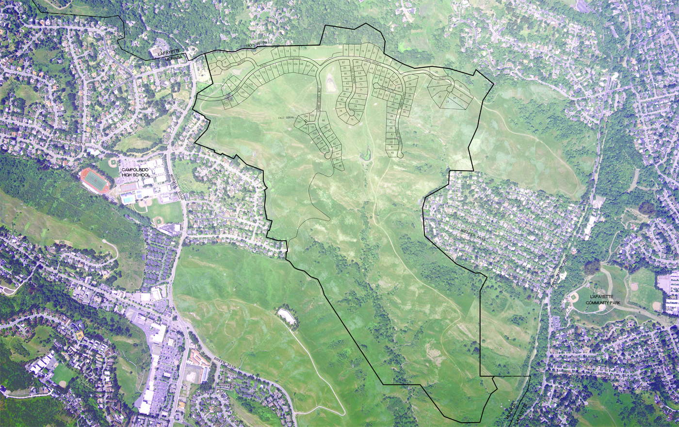 Aerial photography of vacant land with a master planned community plan overlaid on it